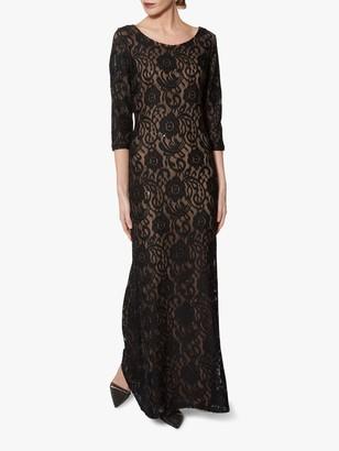Gina Bacconi Mirabella Floral Lace Overlay Maxi Dress, Black