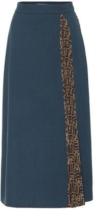Fendi Wool-crepe midi skirt