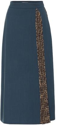 Fendi Wool-crApe midi skirt