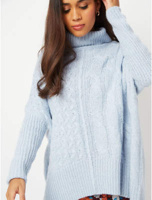 George Blue Roll Neck Dip Hem Jumper