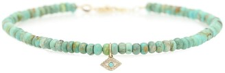 Sydney Evan Exclusive to Mytheresa Evil Eye 14kt gold, turquoise and diamond anklet