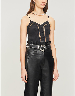 The Kooples Lace-detail crepe camisole