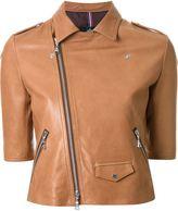 GUILD PRIME half sleeve biker jacket - women - Lamb Skin/Cupro - 34