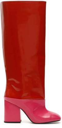 Marni BICOLOR BOOTS 36 Red, Fuchsia Leather