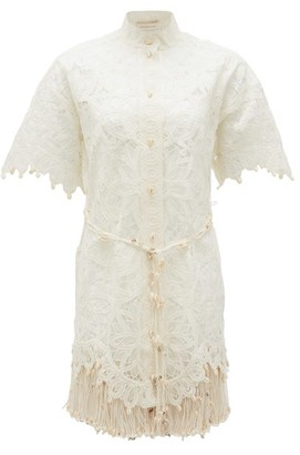 Zimmermann Wavelength Shell-embellished Silk Dress - Ivory