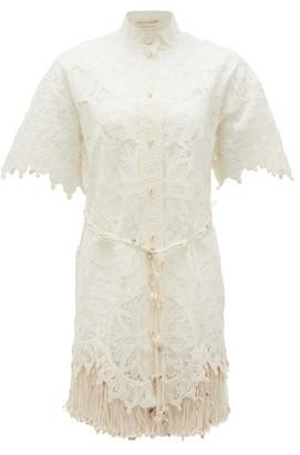 Zimmermann Wavelength Shell-embellished Silk Dress - Womens - Ivory