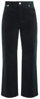 A.P.C. Sailor High-rise Cropped Corduroy Trousers - Womens - Dark Green