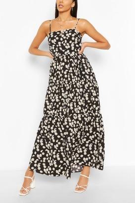 boohoo Tiered Strappy Daisy Print Maxi Dress