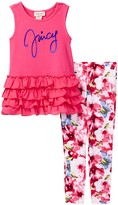 Juicy Couture Ruffle Tunic & Photo Real Floral Legging Set (Toddler Girls)
