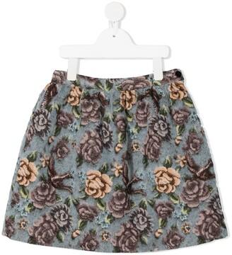 Il Gufo Floral-Print Textured Skirt