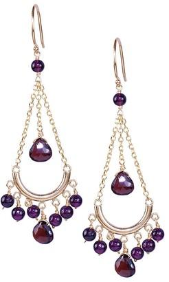 Jewelmak 14k Yellow Gold Garnet Chandelier Earrings