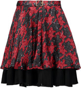Just Cavalli Belted printed silk-chiffon mini skirt