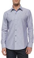 Zachary Prell Diamond-Print Woven Long-Sleeve Shirt, Blue