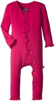 Kickee Pants Fitted Ruffle Coverall (Baby) - Rhododendron - New Born