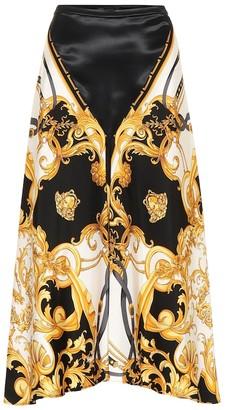 Versace Printed silk midi skirt