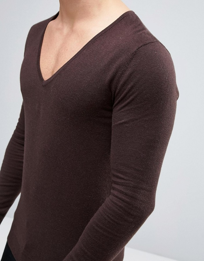 Asos Extreme V Neck Sweater in Muscle Fit