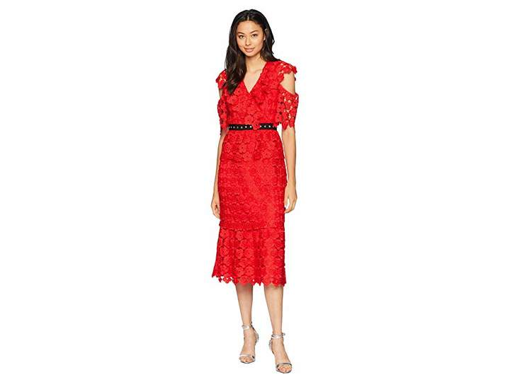 Juicy Couture Floral Guipure Ruffle Sleeve Dress Women's Dress