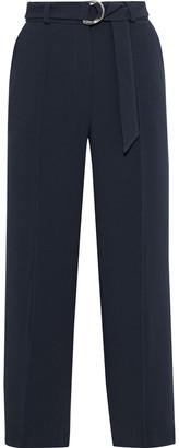 Iris & Ink Kolka Cropped Belted Woven Wide-leg Pants