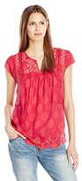 Lucky Brand Women's Cutout Embroidered Top in Fuschia