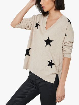 Mint Velvet Star V-Neck Jumper, Beige