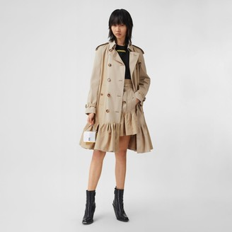 Burberry Gathered Detail Cotton Gabardine Trench Coat