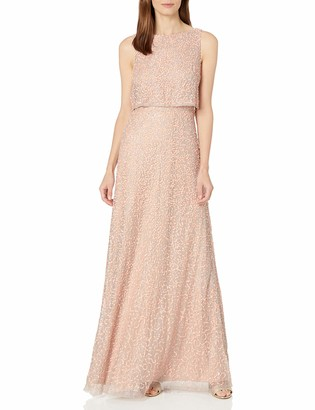 Adrianna Papell Women's Beaded Lace Popover Gown