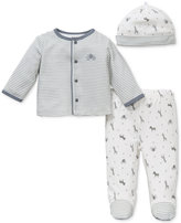 Little Me Baby Boys' 3-Pc. Safari Stripe Hat, Cardigan & Footed Pants Set