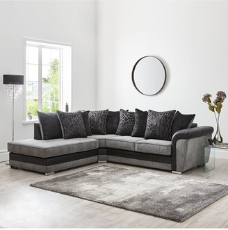 Manhattan Fabric and Faux Snakeskin Left Hand Single Arm Scatter Back Corner Chaise Sofa
