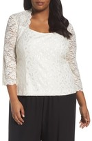Alex Evenings Plus Size Women's Scallop Neck Lace Blouse