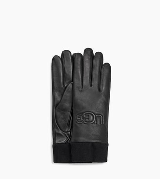 UGG Knit Cuff Leather Logo Glove