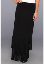 Roper Rayon Skirt/Dress Layered Fringe (Black) - Apparel