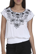 Arden B Embroidered Floral Contrast Blouse