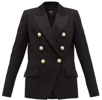 Balmain Double-breasted Wool Blazer - Womens - Black