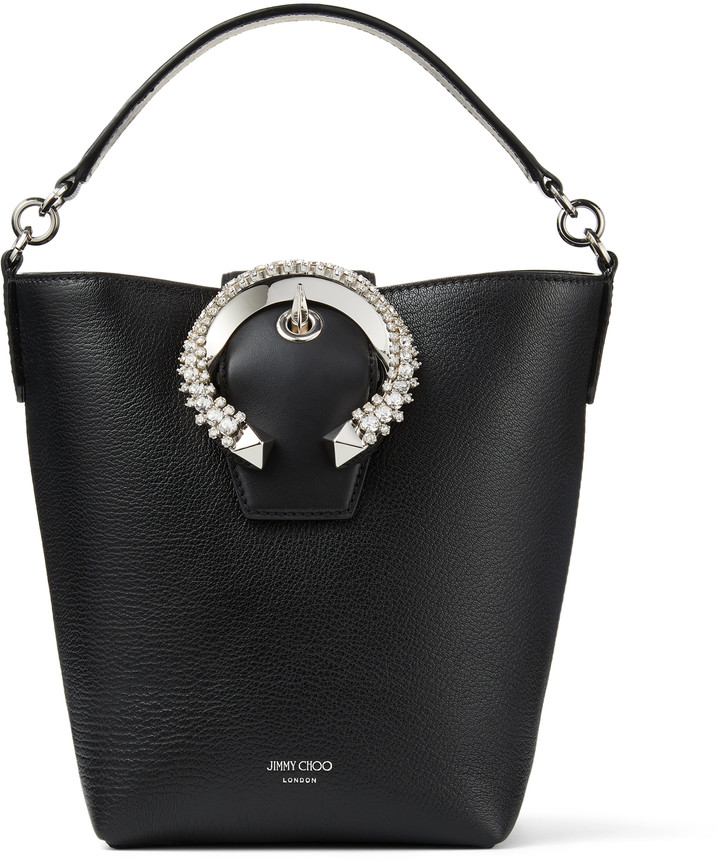 Jimmy Choo MADELINE BUCKET Black Goat Calf Leather Bucket Bag with Crystal Buckle