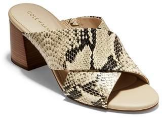 Cole Haan Dakota Snakeskin Printed Crisscross Block Heel Sandal