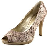 Anne Klein Dynah Women Open Toe Leather Nude Platform Heel.