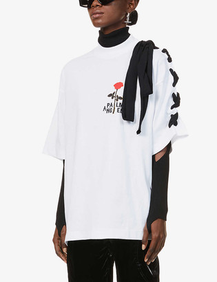 Palm Angels Rose-print lace-up sleeve cotton-jersey T-shirt