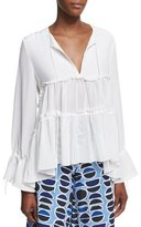 Alexis Vida Split Neck Peasant Blouse, White