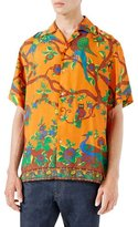 Gucci Jubilee Print Silk Bowling Shirt, Orange