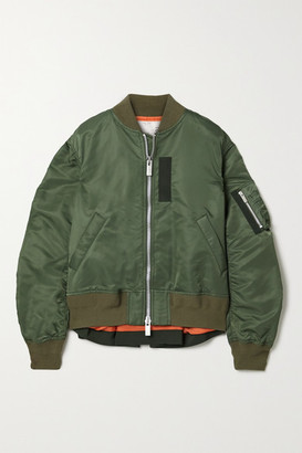 Sacai Oversized Grosgrain-trimmed Shell Bomber Jacket - Army green