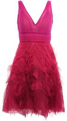 Marchesa Velvet-trimmed Pleated Tulle Mini Dress