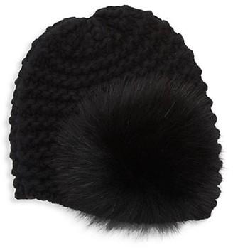 Raffaello Bettini Fur Pom Pom Chain Knit Cashmere Cloche Hat