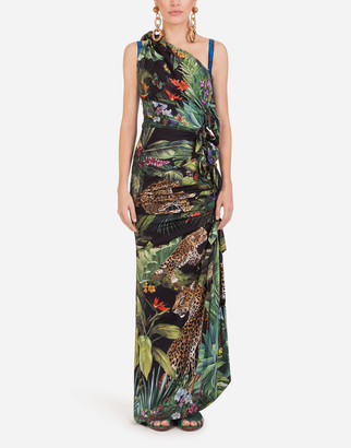 Dolce & Gabbana Long One-Shoulder Dress In Charmeuse With Leopard Print