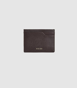 Reiss Charlie - Pebble Grained Leather Card Holder in Berry