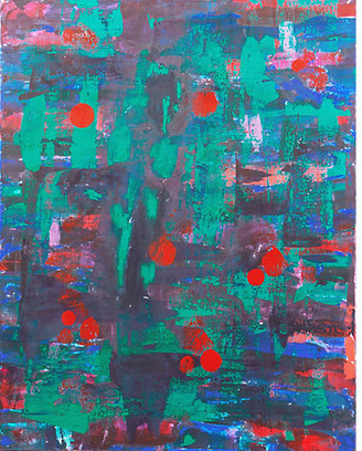 One Kings Lane Vintage Abstract in Jade and Coral - McNaught Fine Art