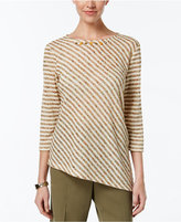 Alfred Dunner Cactus Ranch Collection Striped Asymmetrical-Hem Top