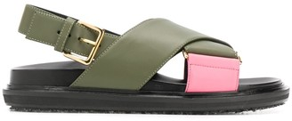 Marni Flat Crossover-Strap Sandals
