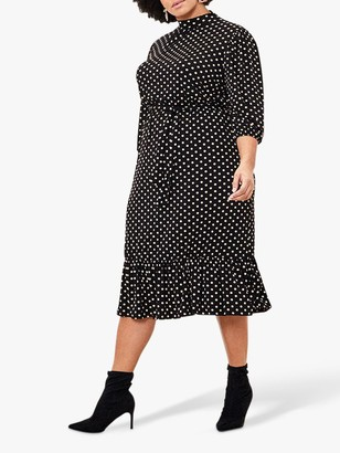 Oasis Curve Spot Midi Dress, Multi/Black