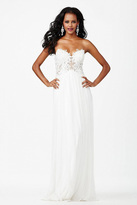 Jovani Strapless Sweetheart Sheer Lace Bodice Long Gown JVN30805
