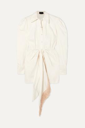 Magda Butrym Wicksville Fringed Denim Mini Dress - White